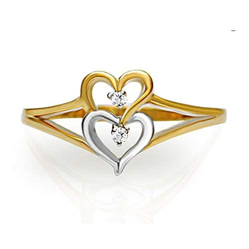 Twin Heart Natural Diamond 10K 14K 18K Yellow White Rose Gold Wedding Two Tone ()