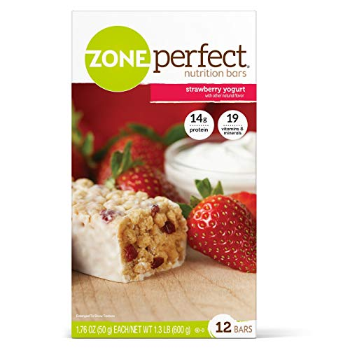 Zone Perfect Nutrition Bar Strawberry Yogurt Flavor Individually Wrapped Ready to Use, 63304 – Pack of 12