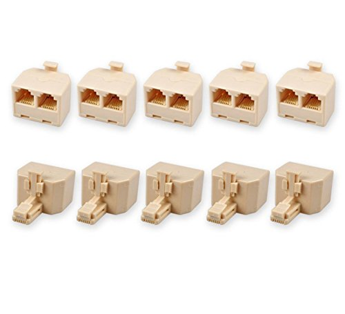 HTTX 2-Way RJ11 US Telephone 1 Plug to 2 Sockets Adapter and Splitter for Landline Telephone (10 Pack)