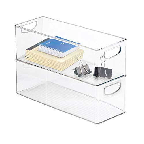 mDesign Large Stackable Plastic Storage Bin Container, Home Office Desk and Drawer Organizer Tote with Handles - Holds Gel Pens, Erasers, Tape, Pens, Pencils, Markers - 16'' Long, 8 Pack - Clear by mDesign (Image #5)