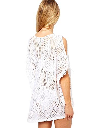 Damen Tunika Strandkleid Netzshirt Style Weiss Bademode Sommer Bikini Größe S/M/L