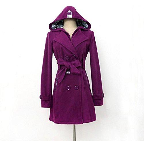 Tongshi La chaqueta caliente del abrigo del Parka del nuevo invierno encapuchado de las mujeres de la manera cubre hacia fuera Outwear (XXL, azul) púrpura