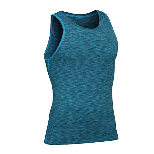 Prettywell Men's PRO Fitness Sports Fast Dry Breathable Stretch Vest MA44 (XL, Blue)