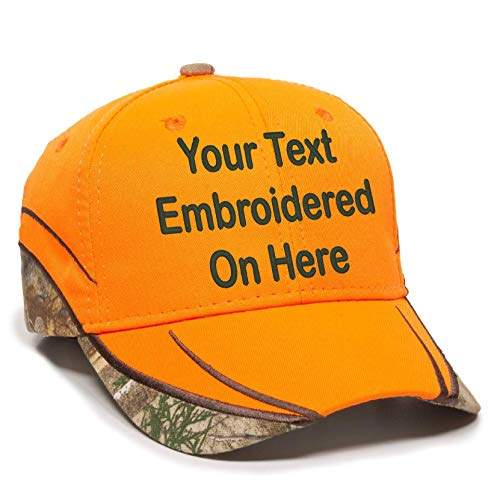 - Custom Hat, Embroidered. Your Own Text. Adjustable Back. Curved Bill (Blaze Orange/Realtree Edge)