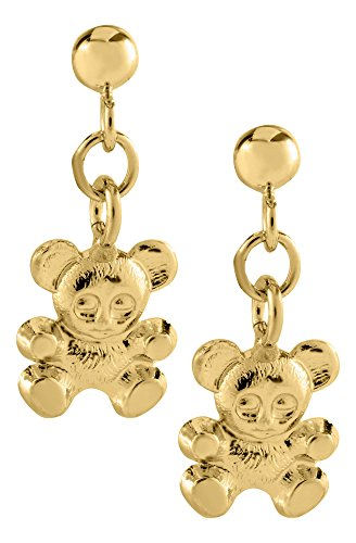 (JAMBS JEWELRY 14KT YELLOW GOLD TEDDY BEAR DANGLE SAFETY EARRINGS FOR CHILDREN)
