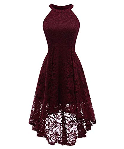 Aibwet 1950'S Women's Vintage Floral Lace Halter Sleeveless A-Line High Low Asymmetric Lace Cocktail Party Wedding Party Bridesmaid Maxi Swing Dress (XL, Wine ()