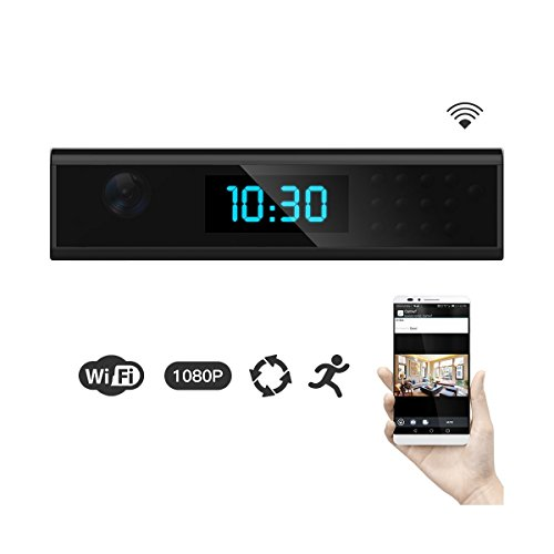 ?Upgraded Version?1080P HD WIFI Hidden Spy Camera Clock Wireless Covert Nanny Cam Remotely View Video via Android/iOS Phone Monitor Recording for Home Security Motion Detection Night Vision