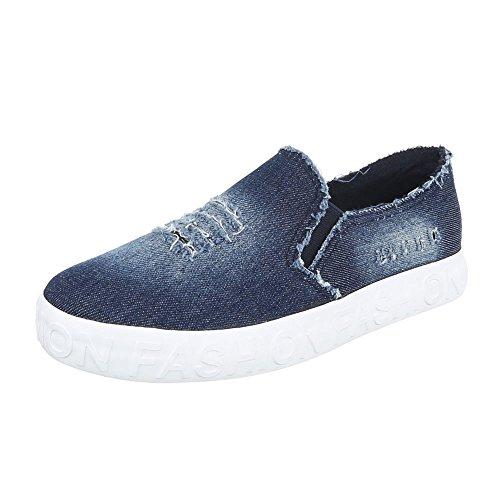 Dames Soulier Design Italien Chaussures Basses Bleu Kk-18