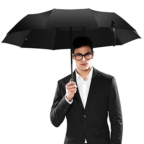 ISIDO Folding Windproof Umbrella 10 Ribs Travel Umbrella with UV Protection Coating Auto Open Close and Upgraded Anti-Slip Handle - Gift Leather Cover