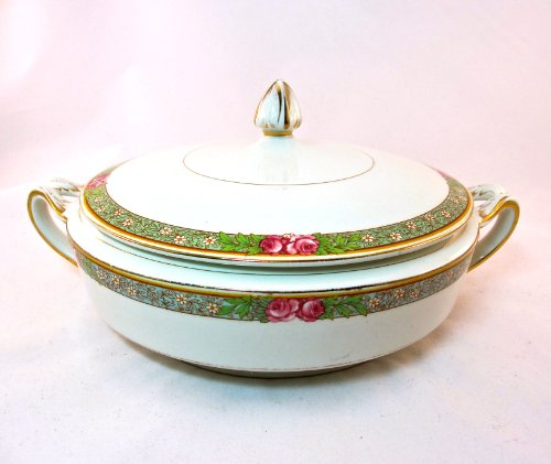 Alfred Meakin Vintage Casserole, England, green Border with Hand Painted Pink Flowers,gold Trim,numbered