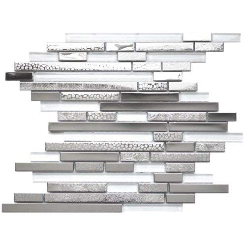 Modern Random Mixed Stainless Steel Tile With White Glass And Textured Metal - Kitchen Backsplash/Bathroom Wall/Home Decor/Fireplace Surround