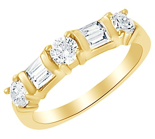 Round & Baguette Cut White Natural Diamond Anniversary Band Ring In 14k Yellow Gold (0.75 cttw) Ring Size-9 14k Yg Round Cut Diamond