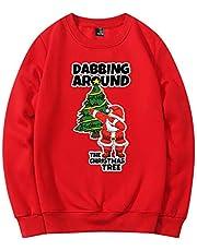 Disfraz de Navidad más suéter de Terciopelo con Cuello Redondo Hip Hop Santa