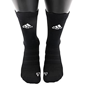 adidas Alphaskin Lightweight Cushioned Crew Socks (1 Pack), Black, 6.5 9
