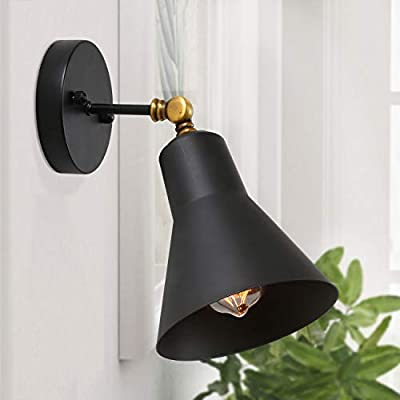 LNC Black Vintage Industrial Wall Sconce Swing Arm Lamp Light Fixture ( Bulb Not Included )