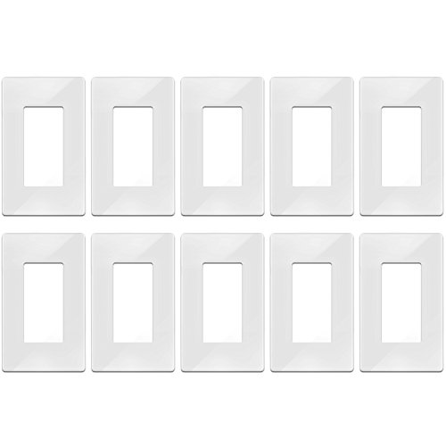[10 Pack] BESTTEN Screwless Wall Plates, 1 Gang Standard Size Decor Wallplates, Decorative Outlet Switch Covers, Compatible with GFCI Outlet, USB Receptacle and Decor Light Switch, UL Listed, White