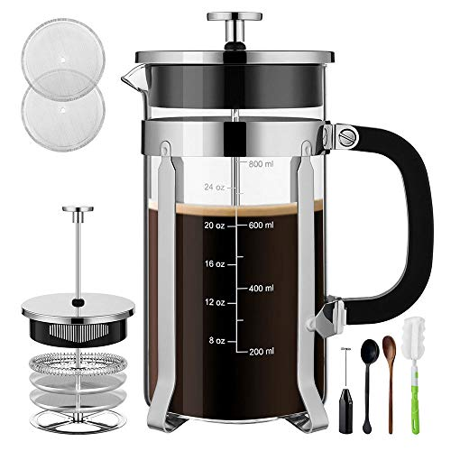 Veken French Press Coffee Maker 304 Stainless Steel 4 Filter Screens Durable Easy Clean Heat Resistant Borosilicate Glass, ((8 cups, 34 oz) -100% BPA Free Sliver