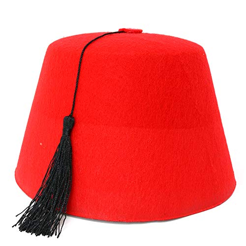 Skeleteen Arabian Red Fez Hat - Moroccan Costume Accessory Fez Hats with Black Tassel - 1 Piece -