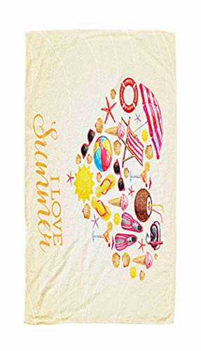 KIOAO Swim Towels Quick Dry, 30x60 Objects Beach Icons Set Shape Heart Beverages Icecream Sunglasses Luonge Beach Towels for Kids,Adults,Pool,Swim,Water Sports from KIOAO