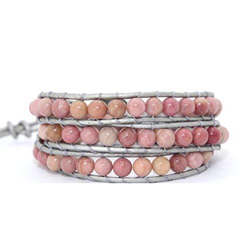 (Natural Stones Charm 3 Strands Wrap Bracelets Handmade Boho Leather)