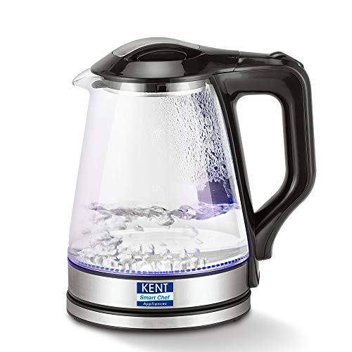 KENT 16023 Electric Glass Kettle 1.7 L | 1500W | Stainless Steel Heating Plate | Borosilicate Glass Body | Boil Drying…