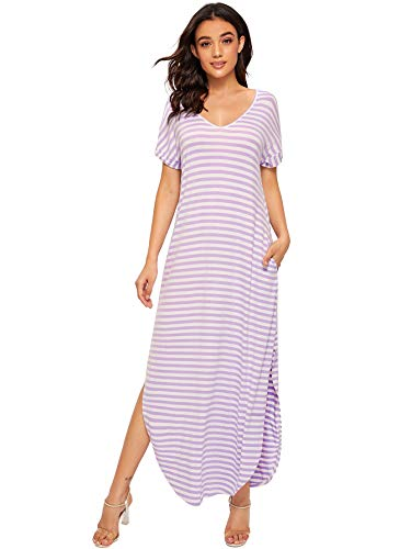Verdusa Women's Casual V Neck Side Split Beach Long Maxi Dress Light Purple&White S -