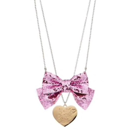 Viacom JoJo Siwa Double Necklace - Pink Glitter Bow and Always Be Your Selfie Metal Heart Charm