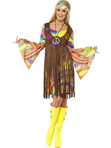 (Smiffys Women's 1960's Groovy Lady Costume, Dress, Printed Waistcoat and Headband, 60's Groovy Baby, Serious Fun, Size 14-16,)