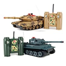 iPlay RC Battling Tanks -Set of 2 Full Size Infrared Radio Remote Control Battle Tanks - RC Tanks by Hq