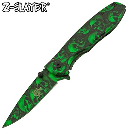 Amazon.com: z-slayer táctico Verde Calavera Cuchillo de ...