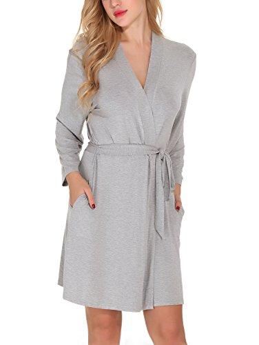 Etopstek Women Bathrobes Breathable Robes Soft Kimono Lightweight Short  Cotton Loungewear Hotel Spa Robes e941419b6