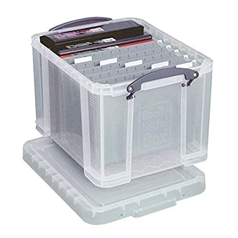 Amazon Com Really Useful Boxesr Plastic Storage Box In H X 14in W X 19in D Clear 32c Record Storage Boxes Office Products