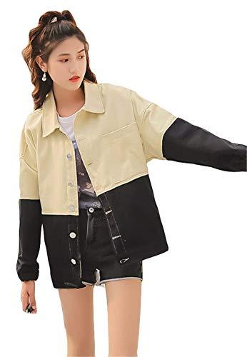 Donna Fashion Schwarz Ragazze Tendenza Huixin Lunghe Casual Giacche Primaverile Colori Outerwear Maniche Ragazza Giacca Fidanzato Cappotto Elegante Autunno Misti College Sciolto axxT5R