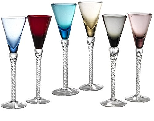 - Circleware Twist Multi Colored Cordial Wine Whiskey Glasses with Clear Stems, Set of 6, Lead Free Glass Beverage Drinking Cups for Bar, Water, Juice & Best Selling Drinks, 1.5 ounce, Colors
