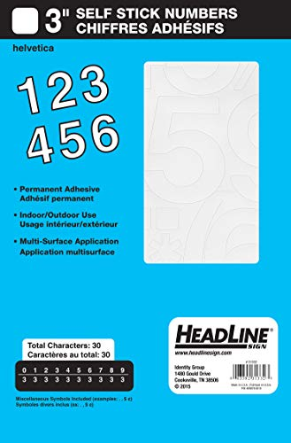 Headline Sign 31332 Stick-On Vinyl Numbers, White, 3-Inch ()