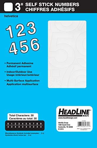 Headline Sign 31332 Stick-On Vinyl Numbers, White, - Number Trucks