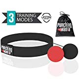 Punching Mania Boxing Reflex Ball for Adults and Kids - 2 Pro Punching Fight Balls on String for Hand Eye Coordination and Cardio Training, Boxing Workout Equipment - BONUS Carry Bag + Replacement KIT