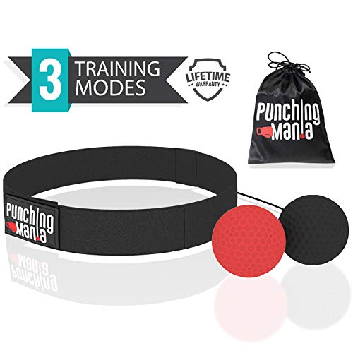 Punching Mania Boxing Reflex Ball for Adults and Kids – 2 Pro Punching Fight Balls on String for Hand Eye Coordination and Cardio Training, Boxing Workout Equipment – BONUS Carry ()