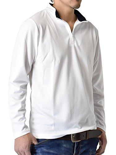 暴露するわな素晴らしさ(アルージェ) ARUGE ドライ 吸汗速乾 長袖 Tシャツ ハーフジップ ゴルフウェア ロンT ムジ 無地 メンズ / D8M