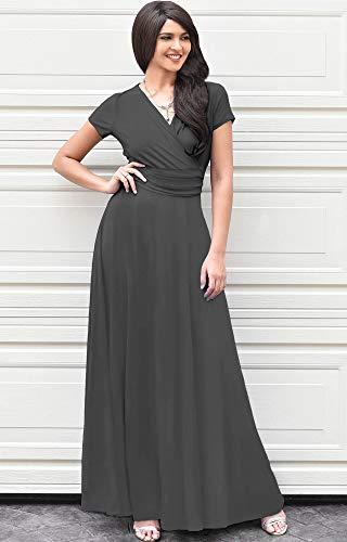 b836eb260ba4 KOH KOH Womens Sexy Cap Short Sleeve V-neck Flowy Cocktail Gown ...