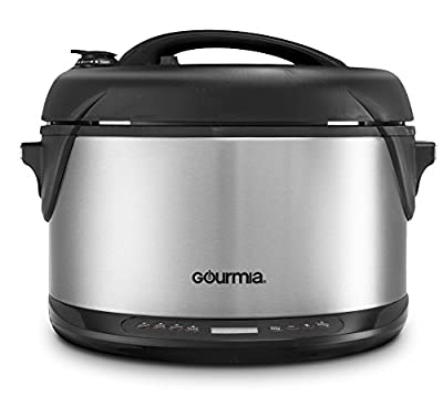 Gourmia Multifunction Electric 1-Hour Hot & Cold Smoker, Pressure Cooker, Slow Cooker and Steamer - 6.5 Qt - With Delay Timer & Removable Racks - 1300W - GPS650