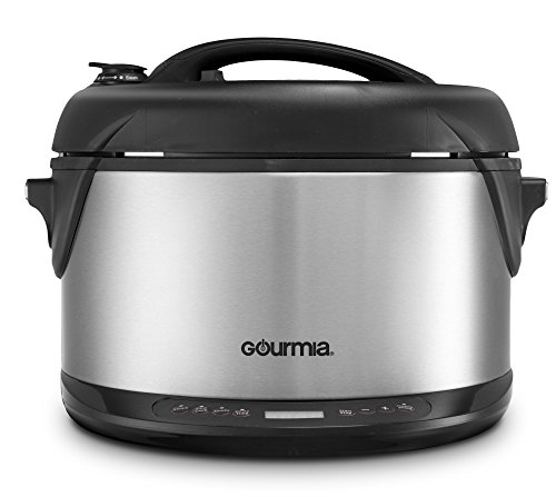 Gourmia Multifunction Electric 1-Hour Hot & Cold Smoker, Pressure Cooker, Slow Cooker and Steamer - 6.5 Qt - With Delay Timer & Removable Racks - 1300W - GPS650 by Gourmia