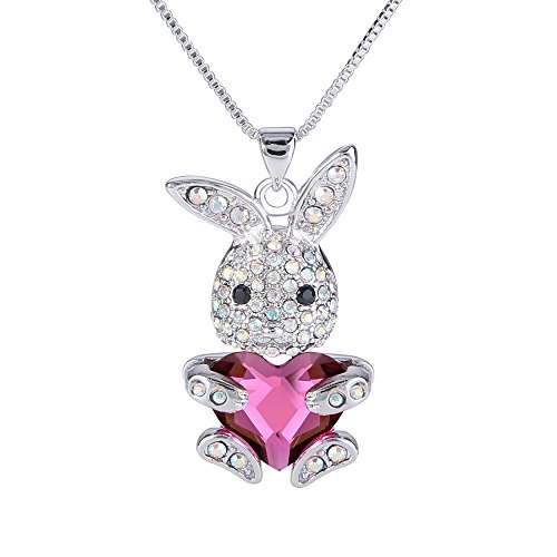 EleQueen Easter Day Womens Silver-Tone Pink Bunny Heart Pendant Necklace Adorned with Swarovski Crystals