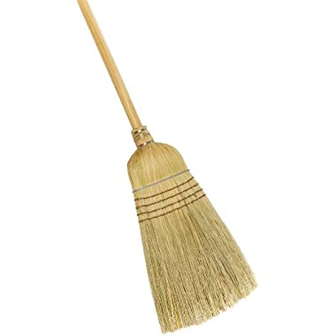 Weiler 44008 Corn Fiber Heavy-Duty Wire Banded Warehouse Broom with Wood Handle, 1-1/2  Head Width, 57  Overall Length