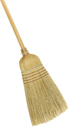 "Weiler 44008 Corn Fiber Heavy-Duty Wire Banded Warehouse Broom with Wood Handle, 1-1/2"" Head Width, 57"" Overall Length"