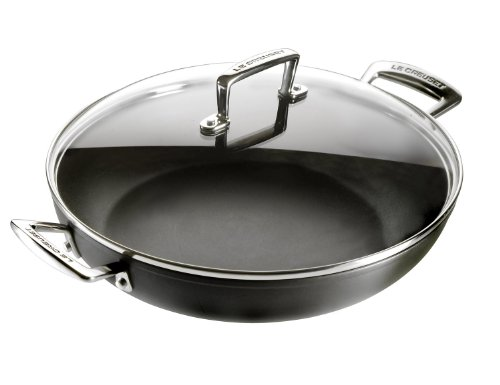 Le Creuset Forged Hard-Anodized 12-Inch Nonstick Shallow Casserole/Braiser with Glass Lid