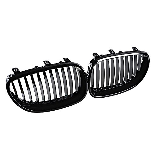 Anzio 1 Pair Glossy Black Euro Direct Replacement Front Kidney Grille Grill for BMW 2003-2010 E60 ()