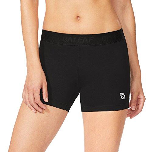 Baleaf Women's 3'' Performance Volleyball Compression Shorts Black/Black Size M