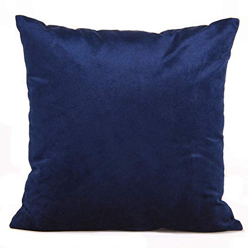 (Encasa Homes Velvet Throw Pillow Cushion Cover 2 pcs Set - Navy Blue - 20 x 20 inch / 50 x 50 cm Solid Plain Dyed Soft & Smooth, Square Accent Decorative Pillowcase for Couch, Sofa, Chair, Bed & Home)
