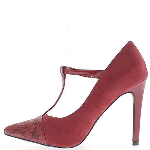 Scarpe donna tacco bi materiale rosso forte 10,5 cm